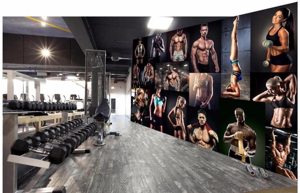 Custom mural 3d wallpaper bodybuilding boxing gym poster for Posters para gimnasios