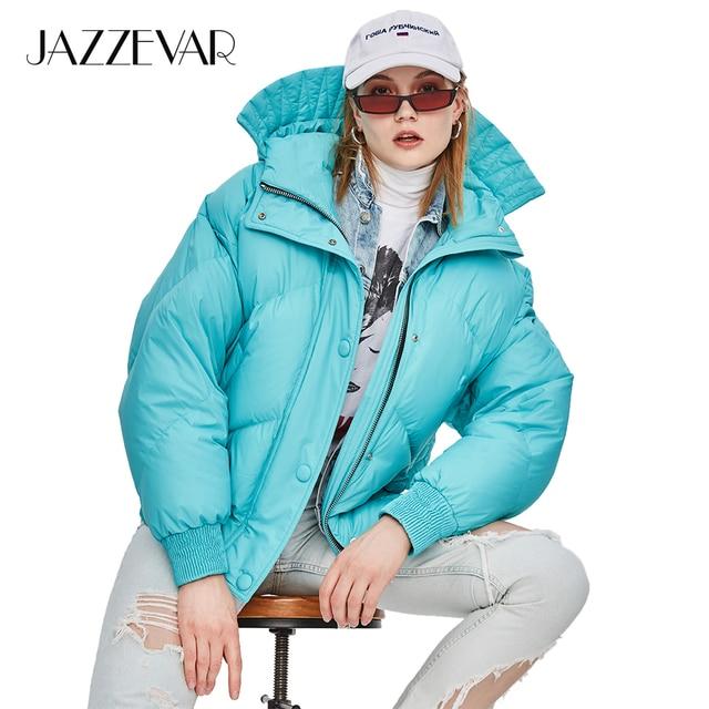 JAZZEVAR 2018 Winter New High Fashion Street Designer Brand Womens Short Duck Down Jacket Cute Pretty Girls Color Warm Outerwear