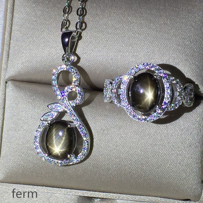 KJJEAXCMY exquisita joyería 925 Plata pura incrustado zafiro natural estrellado juego de joyería para mujer anillos colgante 2 conjuntos