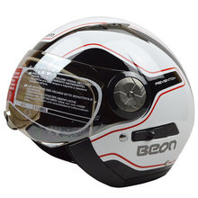 Free shipping BEON B-216 motorcycle helmet half helmet retro dual lens male Ms. fashion seasons helmet / White / black and red