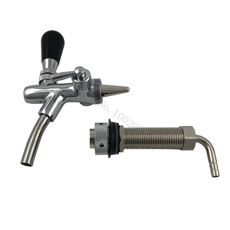 Adjustable Chrome Plating Draft Beer Faucet with 4inch Long Shank Combo Kit Kegerator Tap Homebrew