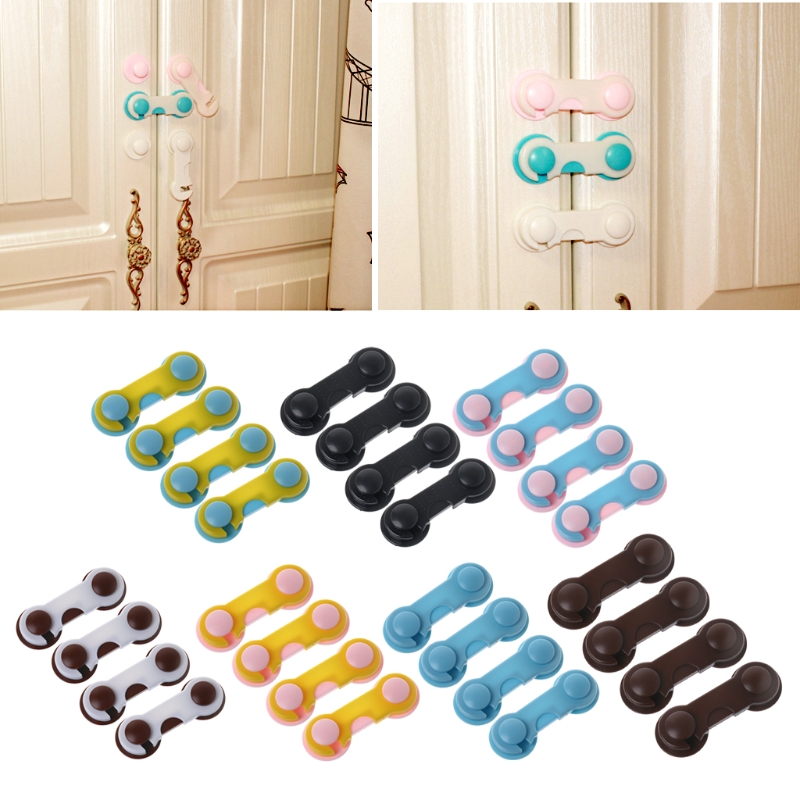 4Pcs Doors Drawers Wardrobe Toddler Baby Children Protection Safety Plastic Lock  Cabinet Locks