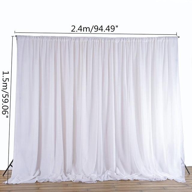 White Sheer Silk Cloth Drapes Panels Hanging Curtains Photo Backdrop