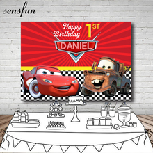 Фон для фотосъемки Красный мультфильм персонажи фильмов автомобили Мальчики с днем рождения фоны для фотостудии 7x5FT винил