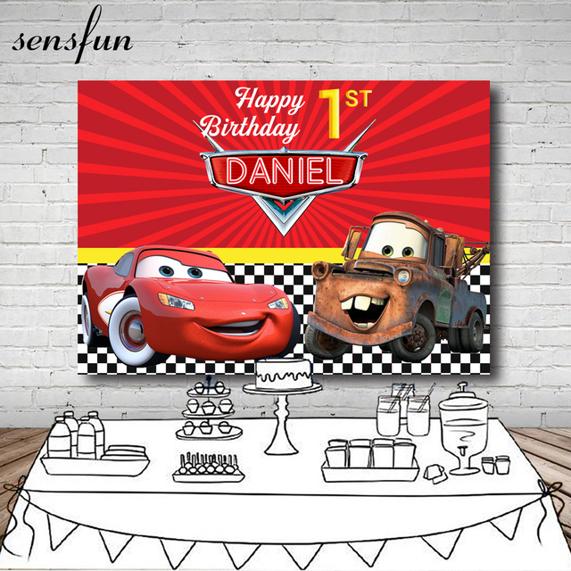 Photography Backdrop Red Cartoon Movie Characters Cars Boys Happy Birthday Party Backgrounds For Photos Studio 7x5FT