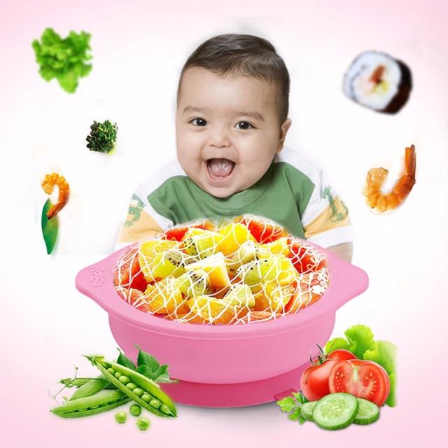 Quanlity elevado Do Bebê Silicone Dois-handed Pratos Com Ventosa Otário Tigela Aprendizagem Auxiliar comida Antiderrapante Tigela W107