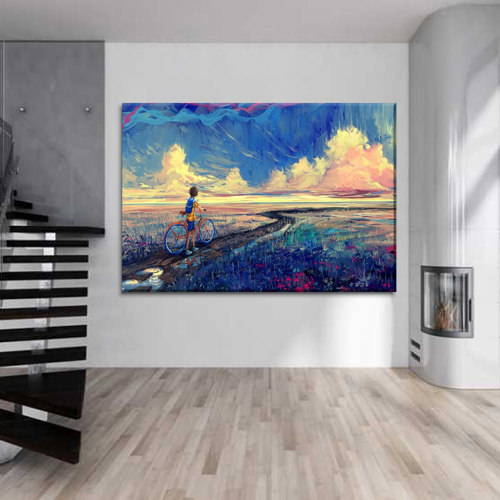 Artistic Boys Ride Bikes Abstract Painting 1 Piece Style Picture Canvas Printing Type Wall Artwork Modern Home Decor Poster in Painting Calligraphy from Home Garden
