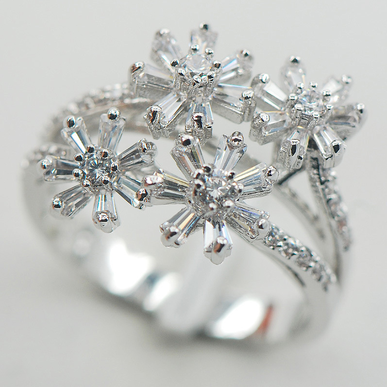 bd69b1efee05 Micropave cristal blanco ZIRCON 925 tamaño del anillo de plata de ley 7 8 9  A05