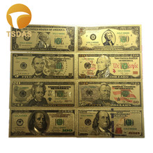 USA Gold Banknote Set 8pcs/lot Colored $1-100 Dollar 24k Foil Fake Money Collection Business Gift