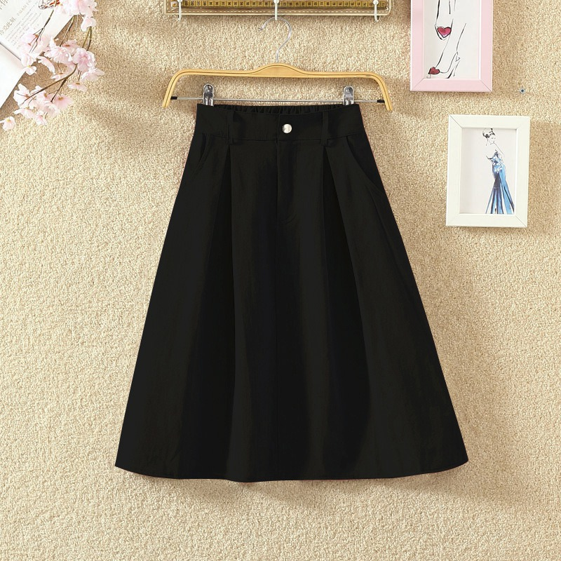 2018 Fashion High Waist Skirts Solid Color Girls Mid Pockets Skirt Womens A-line Skirt