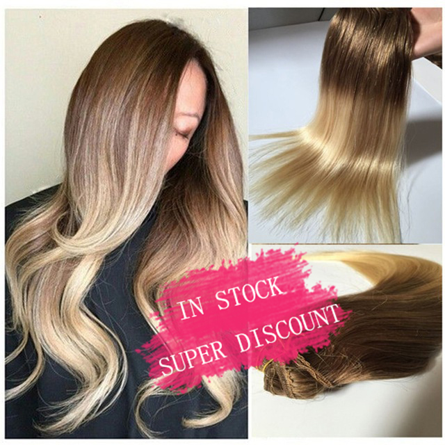 Dhl free shipping brazilian straight ombre clip in human hair dhl free shipping brazilian straight ombre clip in human hair extensions brown to blondet860 pmusecretfo Image collections