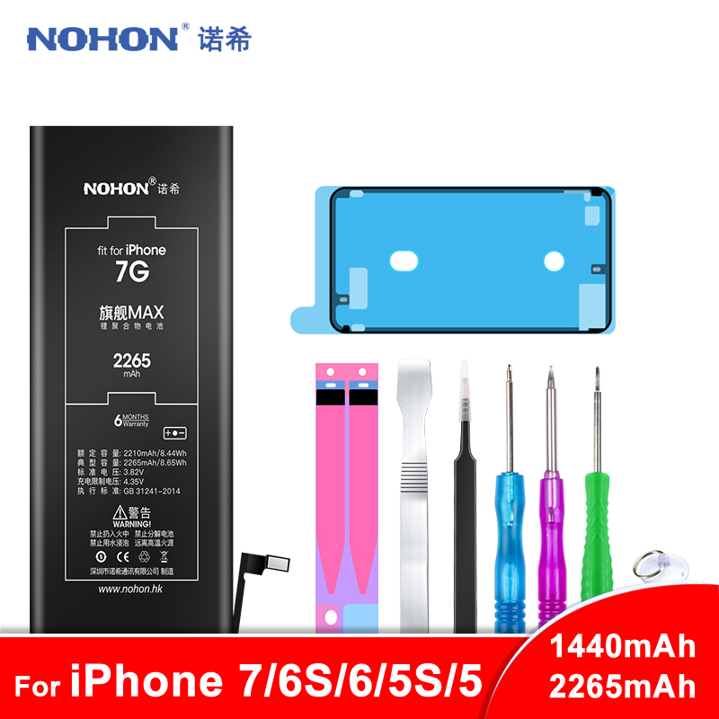 NOHON Battery For Apple iPhone 7 6S 6 5S 5C 5 Batteria For iPhone6 iPhone7 Max Capacity Phone Replacement Batarya + Free Tools image