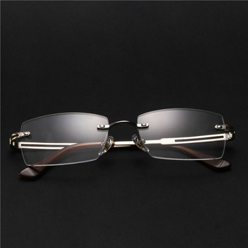 Optical Rimless Eye Glasses Men Retro Myopia Computer Nearsighted Prescription Spectacles Clear Lens #F151