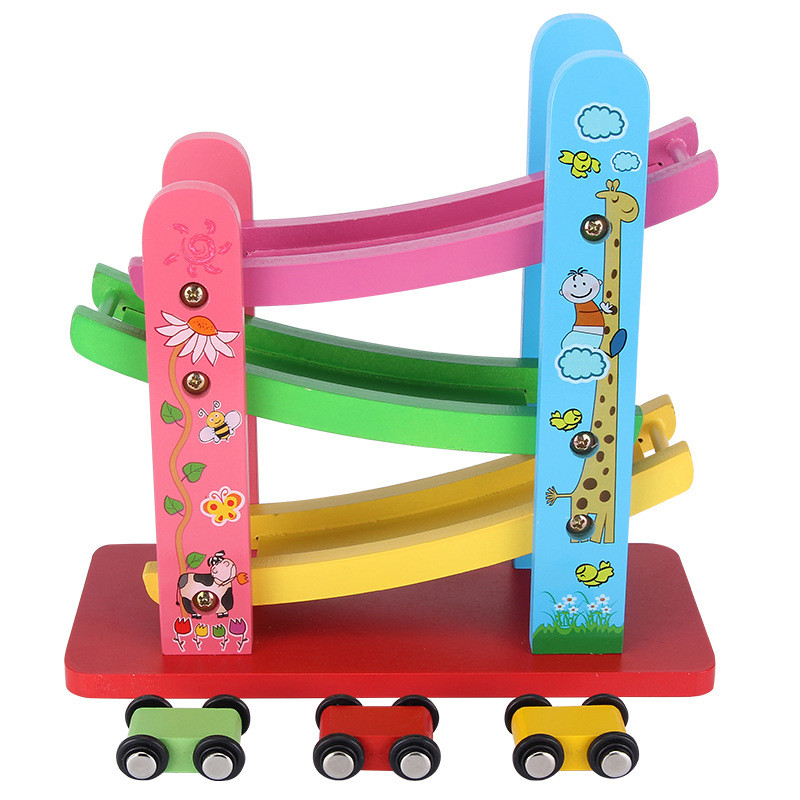 1xwooden ramp race ladder gliding car toys for kids childrenchina mainland