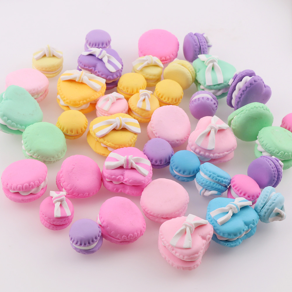 40PC Mix Polymer Clay Candy Macaron Cake Heart Round  Christmas Tree Decor Hanging Ornament For New Year Xmas Party Kids Gift