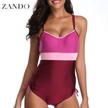 Zando Plus Size S-5XL  Sexy One Piece Patchwork Bandage Backless Swimwear Beachwear Swimsuit Bathing Suits Monokini