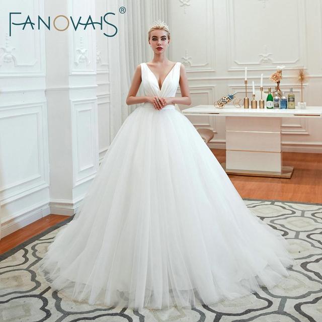 Fanovais Tulle V Neck Simple Elegant Ruffles Vintage Bridal Wedding Dresses Bridal Gowns Vestido de Novia robe de mariee