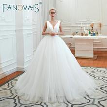Fanovais tule v pescoço simples elegante babados do vintage vestidos de noiva vestidos de noiva vestido de novia robe de mariee