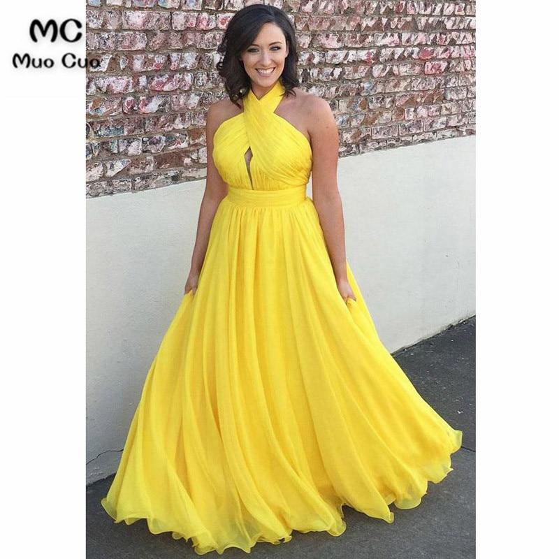 Sexy 2018 A-Line Yellow   Evening     Dresses   Prom   Dresses   Long Halter Vestido Longo Chiffon Backless Formal   Evening   Party   Dress