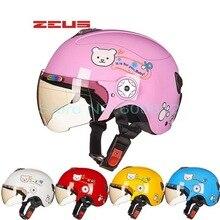 Новый Тайвань ZEUS детские шлемы Four Seasons половина лица Мотоцикл электрический велосипед шлем Harley стиль ребенка медведь дизайн