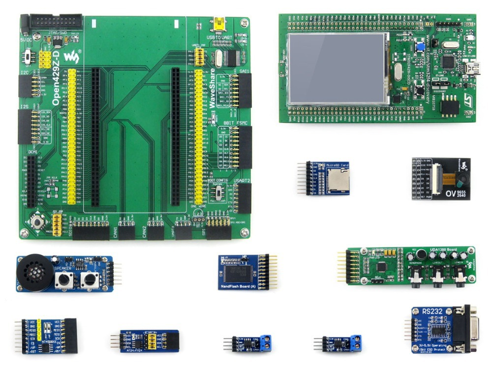 STM32 Board with STM32 Discovery Kit 32F429I-DISCO +Mother Board +10 Modules Kits 32F429IDISCOVERY Cortex-M4 Development Board module stm32 discovery m24lr discovery m24lr stm32 board powered by rfid stm8l152 and stm32f103 onboard