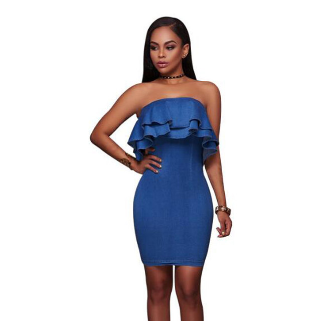 9b702ca0097 2019 Strapless Ruffles Sexy Summer Bodycon Denim Dress Party Women Casual  Sheath Vestidos Evening Mini Jean Robe Ete Dresses
