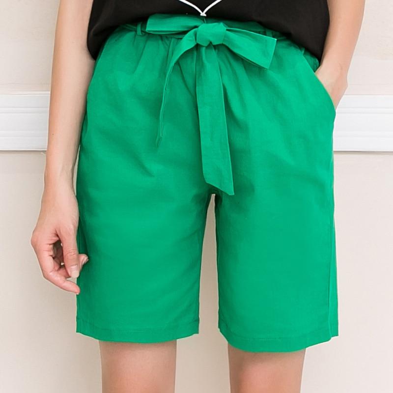 Plus Size 4XL Cotton Shorts Solid Elastic Waist Bermudas Summer Shorts For Women New Drawstring Pocket Pantalones Cortos Mujer