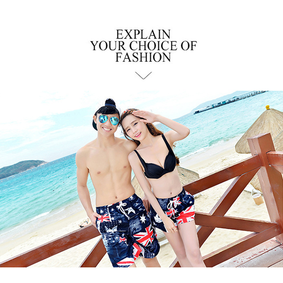 Couple Swimwear Board Shorts Women & Mens Surf Swimming Shorts Swim Trunks Beach Sports Suit Quick Dry Short