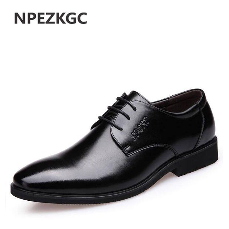 LINGGE Brand Business Style Men s Shoes Genuine Leather lace up Men Shoe Rubber Sole Brown
