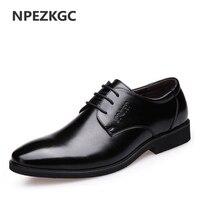 NPEZKGC New Fashion Oxford Men Leather Dress Shoes Spring Autumn Men Casual Flat Genuine Leather Men