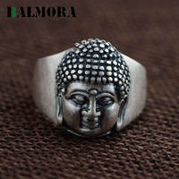 BALMORA Vintage Style 100 Real 990 Pure Silver Jewelry Buddhistic Religion Rings For Women Men Gifts