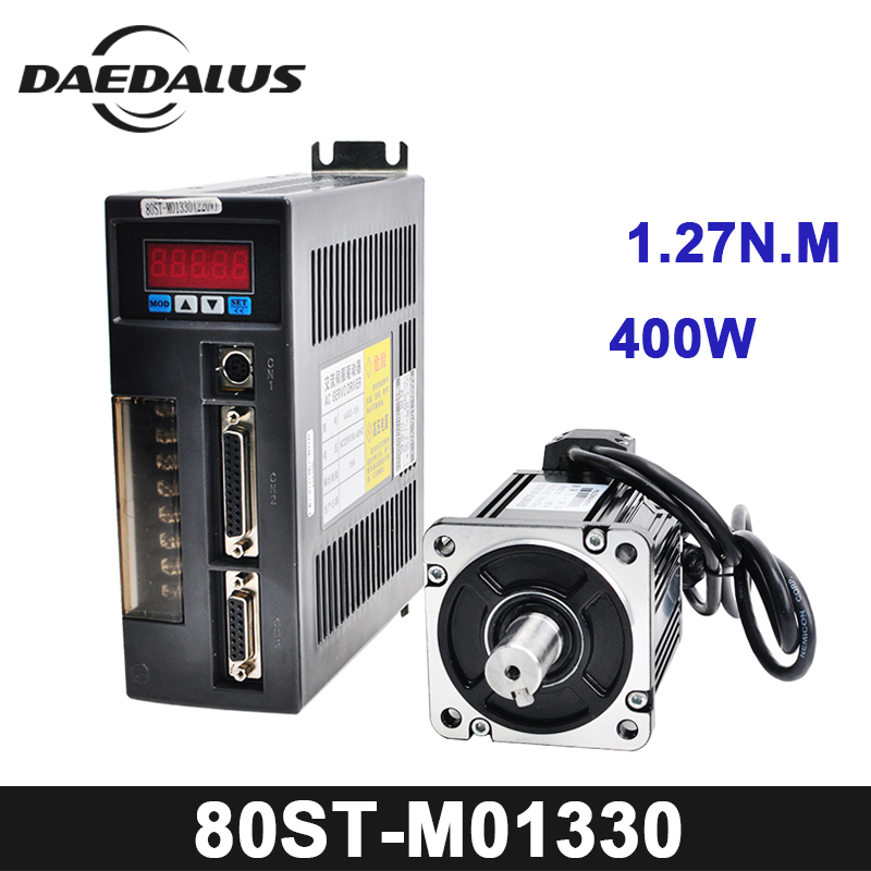 0.4KW AC Servo Motor 1.27N.M 3000RPM 80ST-M01330 AC Motor +Matched Servo Motor Driver+3M Cable Complete Motor kits High Quality high quality ac servo motor and driver 4n m 1 0kw 2500rpm servo motor 80st m04025 matched servo driver free shipping