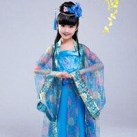 DJGRSTER 2018 Sonbahar Açık Mavi Çin Antik Geleneksel Kostümleri Kızlar Hanfu Giyim Parti Elbiseler Tang Hanedanı Kostüm
