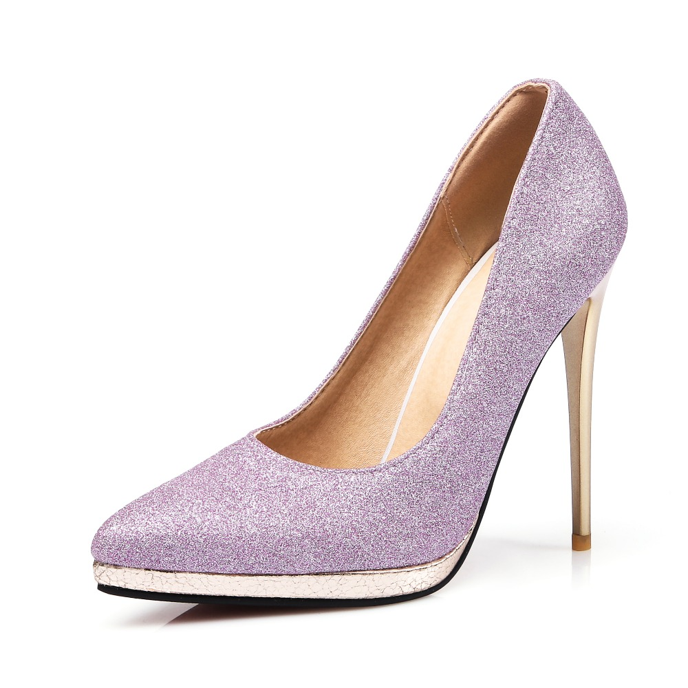 Online Buy Wholesale purple glitter pumps from China purple ...