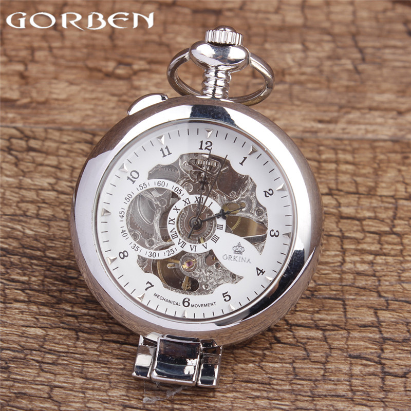 online get cheap silver watch chains aliexpress com alibaba group whole 2017 high quality new fashion silver mechanical hand wind mechanical pocket watch men watch fob chain best gift p408 1