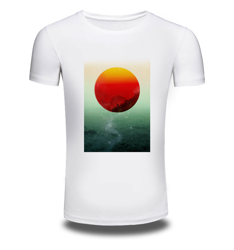 4e27193b2202 New Mens Summer T-Shirt sunset glow Printed Casual Man's Slim Fit Short- Sleeve