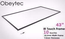 Новый тип 43 дюймов инфракрасный сенсорный экран ИК сенсорный рамка Наложение 10 точек касания plug and работает