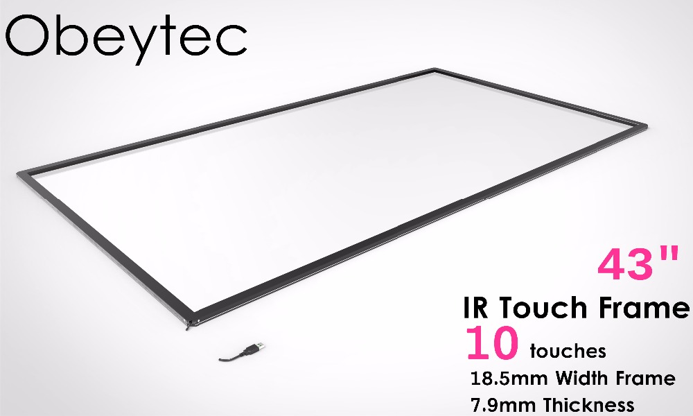 Obeytec 43 inch Infrared Frame , 10 Touch Points IR Touch Screen, USB plug and Play, Fast Deliver, Frame Only