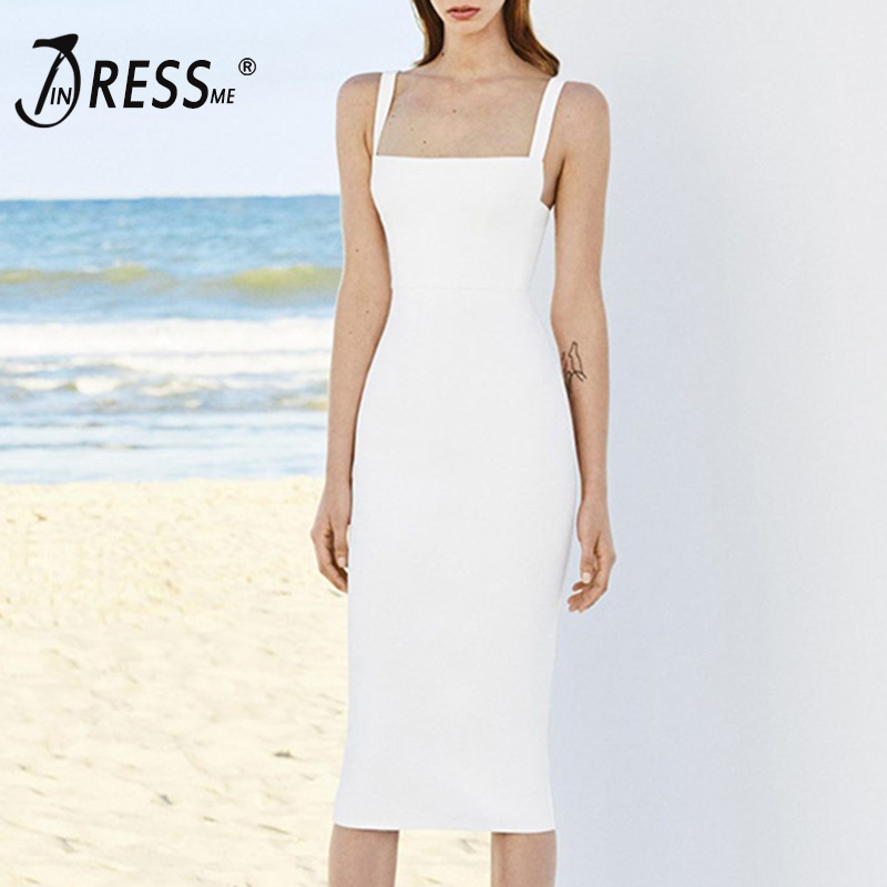 INDRESSME Women Bandage Dress 2018 Spaghetti Strap Sexy Club Party Dresses Midi Backless Vestidos New Fashion