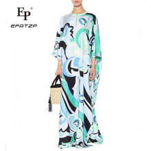 Новая мода роскошное Макси платье женское 3/4 рукав элегантное голубое с геометрическим принтом XXL стрейч Джерси шелк спандекс длинное платье