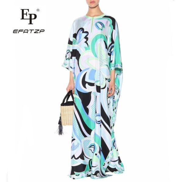 Kadın Giyim'ten Elbiseler'de Yeni Moda 2018 Lüks Maxi Elbise kadın 3/4 kollu zarif Mavi Geometri Baskı XXL Streç Jersey Ipek Spandex uzun elbise'da  Grup 1