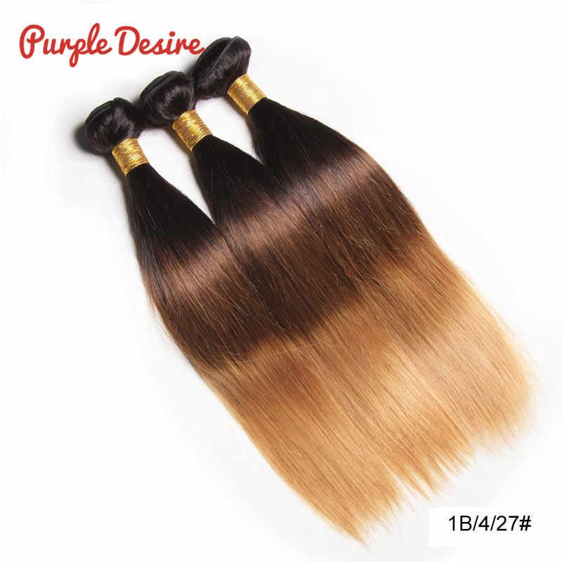 С эффектом деграде (переход от темного к светлому), прямые волосы в пучках, T1B/4/30 коричневый Мёд блондинка 100% пряди человеческих волос для наращивания волос ткать перуанские прямые волосы утка 10-26 дюймов
