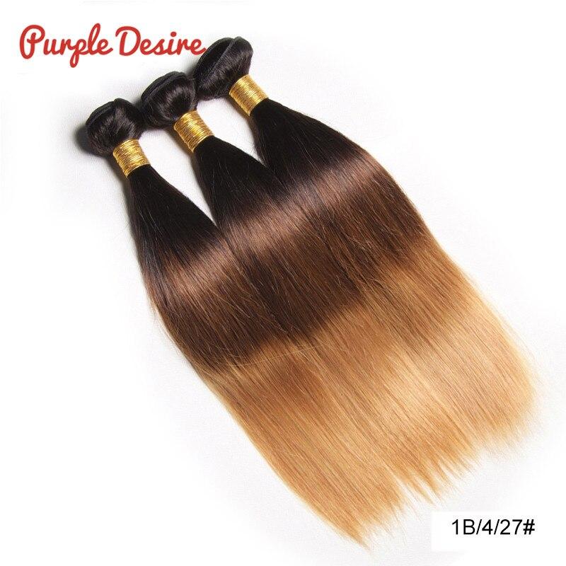 Ombre Hair Straight Hair Bundles T1B / 4/30 Brun Honung Blonde 100% - Mänskligt hår (svart) - Foto 4