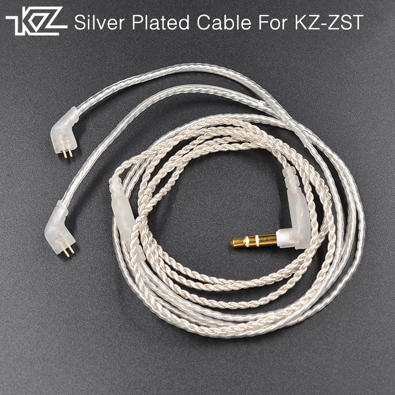 New KZ SPC Dedicated Cable 0.75mm 2-Pin Upgraded Plated Silver Cable 2 PIN Upgrade Cable Ues For KZ ZST/ZS10/ZS3/ZS6/ZSR