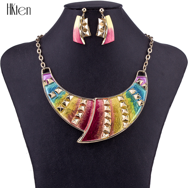94714f383 MS1504640 Fashion Jewelry Sets Hight Quality Necklace Sets For Women Jewelry  Multicolor Rivets Unique Design Gifts