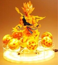 LED de Dragon Ball Z bomba de espíritu lámpara de mesa Son Goku noche luces habitación lámparas de mesa de Luminaria de cristal bricolaje bolas hogareñas para Decoración