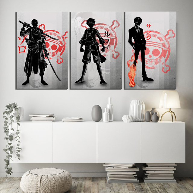 Canvas Painting Prints Poster Modular Pictures 3 Panel One Piece Anime Luffy Zoro Cartoon Wall Art Home Decoration
