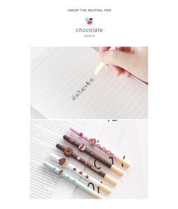 Image 2 - 20 قطعة/الوحدة الشوكولاته هلام أقلام الديكور كعكة الفاكهة دونات أسود اللون القلم هدية القرطاسية اللوازم المكتبية Canetas escolar A6710