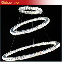 Modern Crystal Chandeliers Circular Stylish K9 Crystal Ceiling Lamp Living Room LED Lighting Unique Ring Design