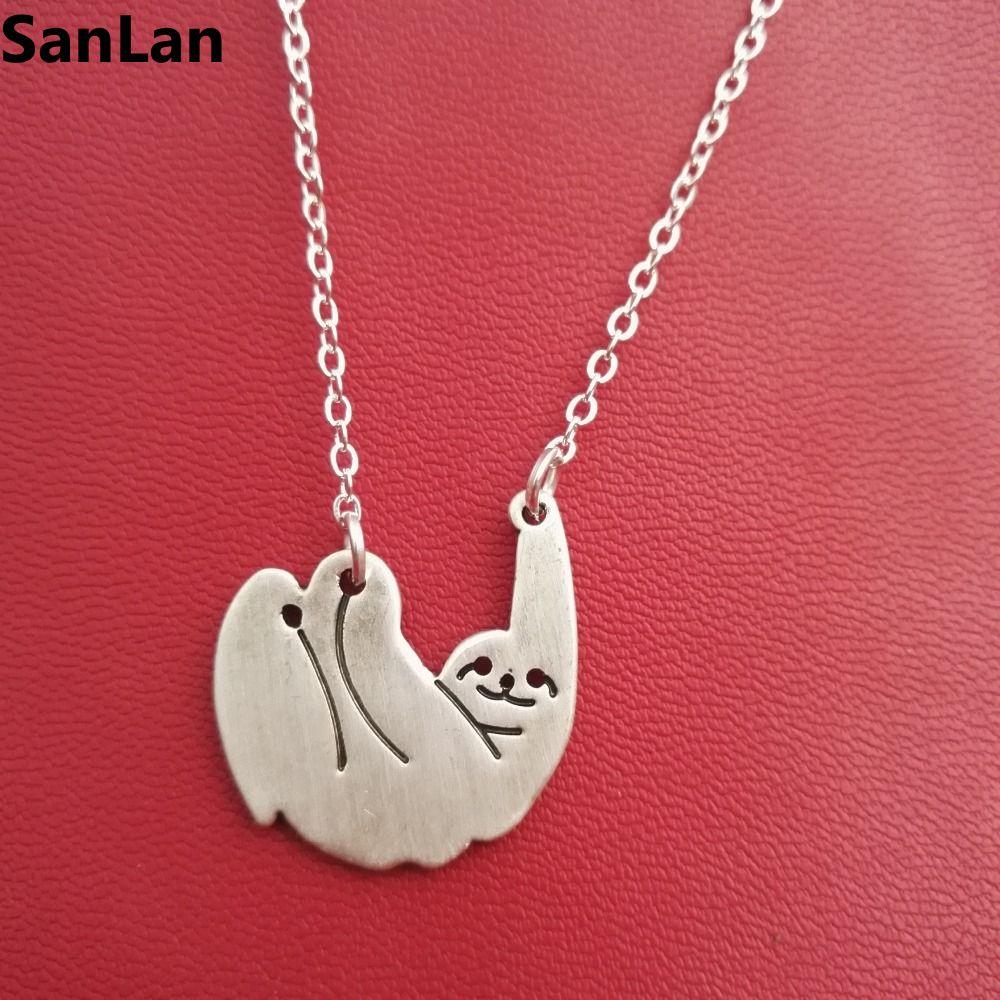ᓂMujeres caliente-venta collar plateado plata antigua Sloth ...